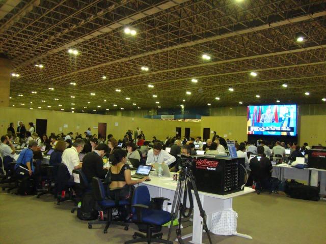 Centro de Mídia da Rio+20 no Rio Centro: mais de 3.500 credenciaispara jornalistas do mundo inteiro. Foto Antonio Carlos Teixeira