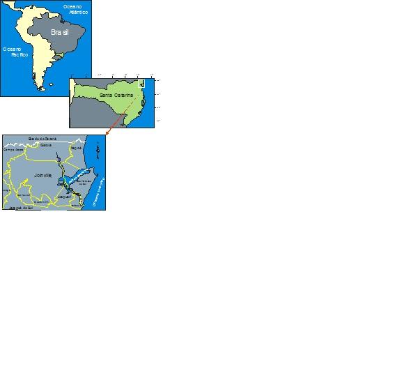 Localização geográfica do município de Joinville. Fonte: Comitê da Bacia Hidrográfica do Rio Cubatão/UNIVILLE