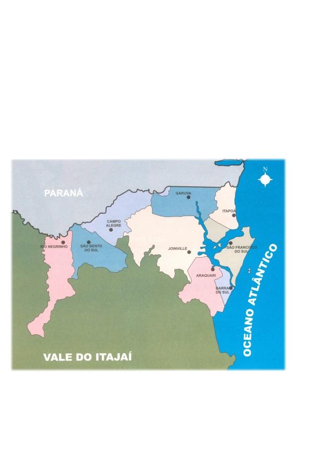 Região norte do Estado de Santa Catarina com Município de Joinville em destaque. Fonte: IPPUJ (2001)