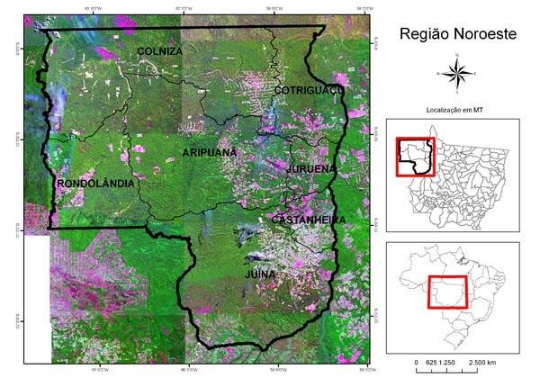 Mapa da região noroeste mato-grossense e os municípios integrantes do projeto