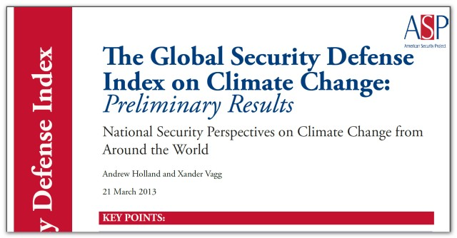 The Global Security Defense on Climate Change - Preliminary Results - March 2013 (1)