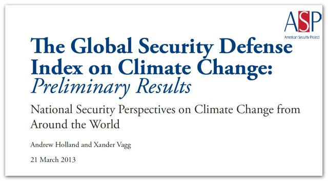 The Global Security Defense on Climate Change - Preliminary Results - March 2013 (2)