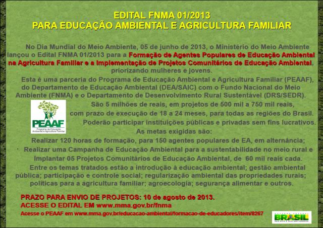Edital FNMA Educação Ambiental e Agricultura Familiar