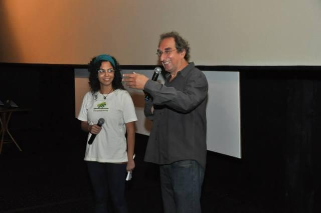 """Marc-Henri Wajnberg, diretor do excelente """"Os Meninos de Kinshasa"""", e Aline Baiana Cavalcanti, no encerramento da terceira edição do FilmAmbiente Festival, quinta-feira (5/9), no Espaço Itaú de Cinema, no Rio de Janeiro"""