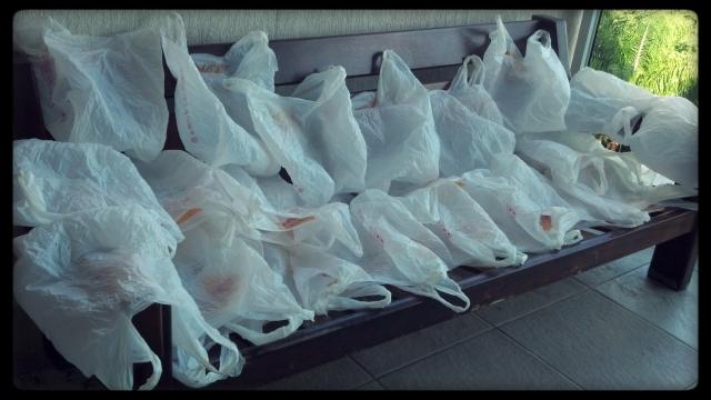 33 sacolas plásticas utilizadas em experiência em compra semanal: redução do consumo de 10 mil unidades em seis anos. Foto: Antonio Carlos Teixeira 2014 www.terragaia.wordpress.com