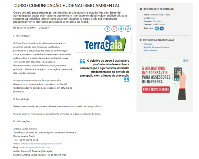 Curso Comunicação e Jornalismo Ambiental