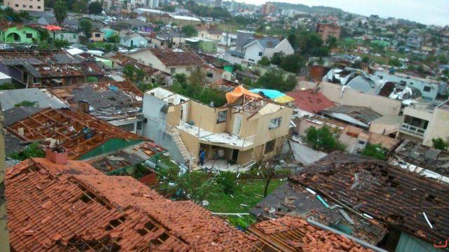 Tornado em Xanxerê (SC) causou destruição e deixou mais de mil desabrigados. Foto: Defesa Civil de Santa Catarina