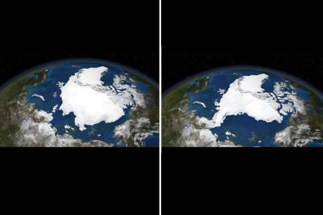 Satellite images from the Arctic ice pack in September 2005 and again in September 2007: The Arctic ice pack is most extensive in the month of September. Yet NASA, which has been mapping it annually since 1979, has measured a 13 percent drop in its surface area per year. Photo credit: NASA